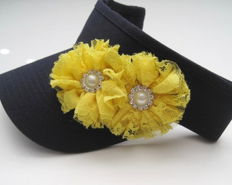 Golf Sun Visor Super Cute Navy Blue with Yellow Lace Flowers and Pearl and Rhinestone Accents Golf Accessories