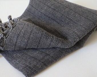 Turkish Towel stone washed bamboo Peshtemal towel Pure Soft in dark grey