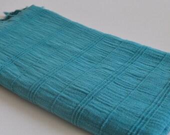 Turkish Beach and bath towel Peshtemal towel Cotton Peshtemal Stone washed Towel in Teal color soft