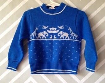 vintage st michael Noah's ark sweater for baby size 2T / 18-24 months