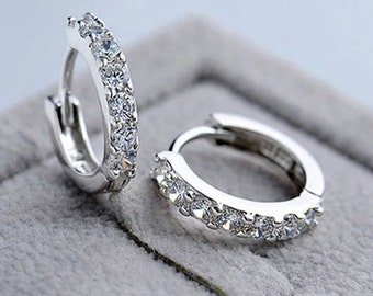 Silver 925 Plated CZ Small Round Hoop Earrings Jewellery