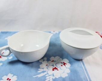 Vintage White Melmac Sugar Bowl and Creamer.