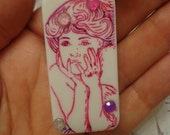 Handmade Domino Pendant,  Young Victorian Woman, Pink w/ Crystals