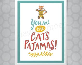 Funny Illustrated Hand Lettered Friendship Cat's Pajamas Card