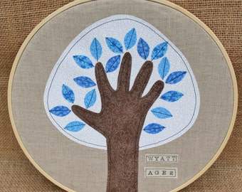 PERSONALIZED grandparents gift, Child's Handprint Art, Handprint Tree, Embroidery Hoop Art, 10 inches, Winter