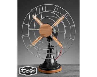 A Fan-tastic Table Lamp, Rustic Industrial, Home Decor, Repurposed, Up-Cycled LIghting, Vintage Edison Bulb, Handmade, Fan Light, Retro,