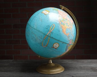 Vintage Globe made by Crams, School House Globe - Geography - World Planet - Adventure Map - Travel - Vacation