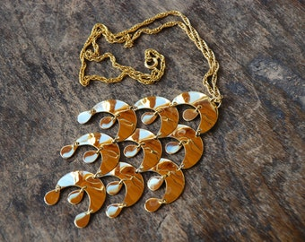 Vintage Boho Necklace Gold Tone Dangle Pendant Crescents Belly Dancing Disco Statement Festival Jewelry 1970's // Vintage Costume Jewelry
