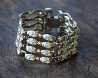 Vintage CORO Wide Link Bracelet Textured Gold Tone Panels Mid Century 1960's // Vintage Designer Costume Jewelry