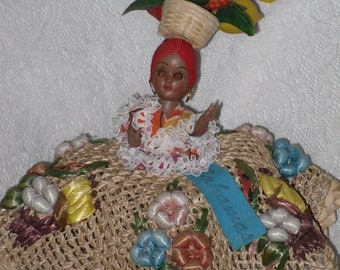Woven Straw Doll with Plastic Fruit Hat Bahamas Souvenir Vintage