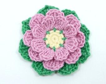 Crochet flowers, crochet appliques, 1 large eight-petal applique flower. Cardmaking, scrapbooking, craft embellishments,sewing accessories.