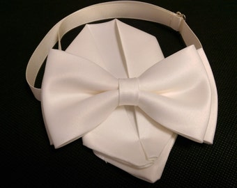 Adult Kids  ivory  bow tie with pocket square / handkerchief