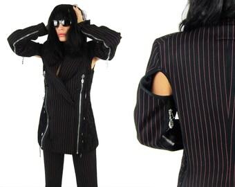 JEAN PAUL GAULTIER 1989/90 'Femmes Entre Elles' Pinstripe Cut Out Zipper Jacket Suit