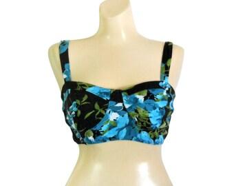 90s Crop Top Bra Top Floral Crop Top Black Crop Top Crop Tank Top Crop Shirt Summer Clothes Summer Clothing Summer Shirt 90s Shirt Turquoise