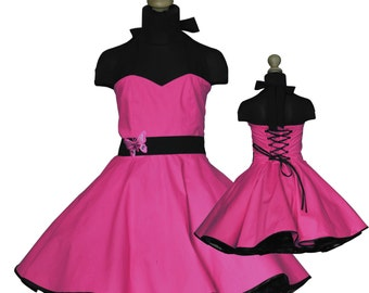 Girls 50's dress for petticoat custom made in pink eco friendly cotton with butterfly embroisery