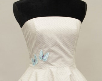 50's vintage dress full skirt creme polka dots embroidery custom tailor made after your measurements
