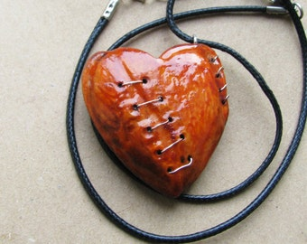 Mended love large Heartbreaker broken stitched Imperfect heart necklace ornament wood charm pendant A1