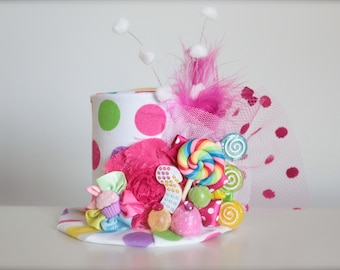 Candyland Inspired Gumdrop and Lollipop - Mini Top Hat Headband - Perfect Candyland Birthday Photography Prop