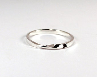 Skinny Mobius Twist Sterling Silver Stacking Ring, 2mm Wide, Made to Order