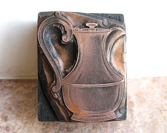 Antique Copper Letterpress Printers Wooden Block of a Coffee Pot or Teapot c1910