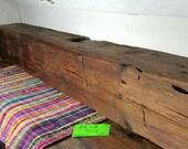 "Vintage Reclaimed Barnwood Beam Fireplace Mantle 90 1/2"" Long Barn Wood Shelf"