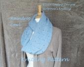 Raindrop Cowl Scarf Knitting Pattern, Eyelet Lace, Infinity Cowl Scarf, Fingering or Sport Yarn, Long Loop Scarf