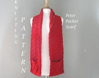 Pocket Scarf Knitting Pattern, Cabled Pattern & Boxes, Scarf with Pocket, Worsted Yarn, Men Women Teens