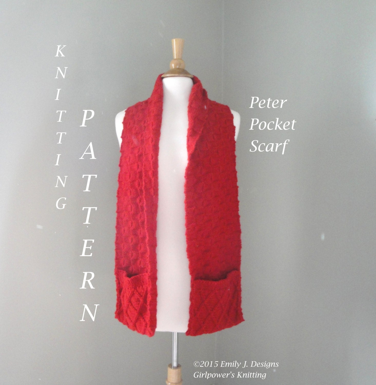 Knitting Patterns Scarves With Pockets : Pocket Scarf Knitting Pattern Cabled Pattern & Boxes Scarf