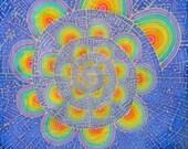 "Handmade Batik Tapestry - ""Triametes Versicolor"" - Made to Order - Original Artwork - Rainbow Fractal Spiral Visionary Art"