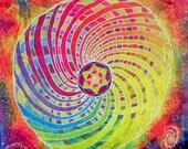 Original Handmade Rainbow Torus Batik Tapestry- Flower of Life - Sacred Geometry - Fibonacci - Energy - Outer Space