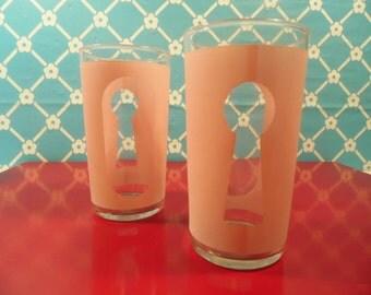 Mid Century Tumbler Glasses  - Pink Keyhole - Libbey Glasses - Set Of 6 - 8 Oz