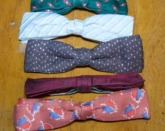Vintage 1950's Clip On Bow Ties Set Of Five