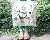 Tote Bag - Treasure Hunter Tote by Hello Small World, vintage shopper, thrift store, thrifting, retro finds, antiques collector perfect tote