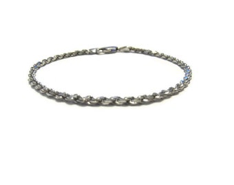 Vintage Sterling 2mm Rope Chain Bracelet 7 inches