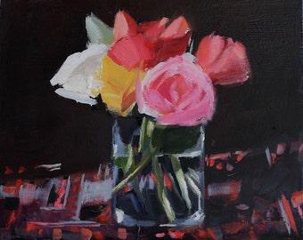 Dark Flower Still Life Painting, oil on flat unframed wood panel, 8x10 inch Canadian Fine Art