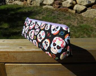 Slim Pencil Case, Sugar Skulls, Skull Pencil Bag, One of a Kind