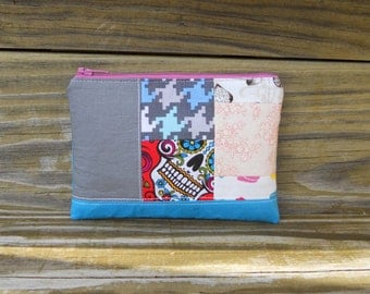 Zipper Pouch, Quilted Pouch, Fabric Block Pouch, Gray ad Blue Pouch, One of a Kind