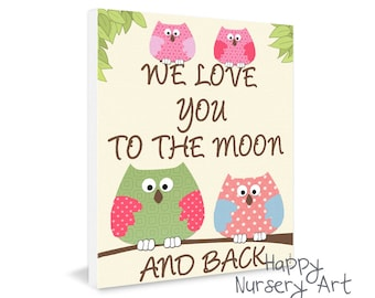 Poster for the nursery, Owls poster wall decor, nursery poster, love you to the moon and back, quote nursery art,boys girls nursery art gift
