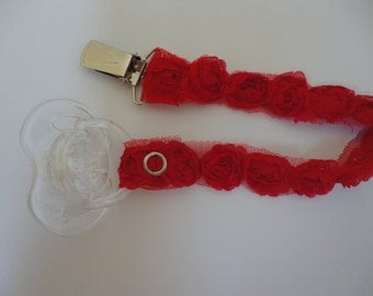 Girly and Dainty Pacifier Clip - Red Roses