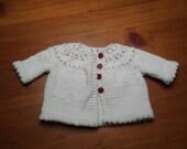 White Baby Sweater, Baby Girl Sweater, Baby Sweater, White Sweater, Knit Sweater, Knit Shrug, Knit Baby Sweater