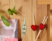 Personalized Two Peas In A Pod Decoration Handmade Ceramic Pea Hanging Ornament Nature Natural Home Decor Unique MTO