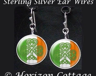 Celtic Heart Shamrock on Irish Flag, Earrings for St. Patrick's Day, Altered Art Image Your Choice of Finish