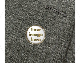Custom Photo Tie Tack, Collar, or Lapel Pin, Memory Pin, Family Lapel Pin, Antique Brass or Shiny Silver, Your Photo or Quote