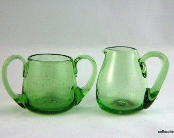 Jamestown Glass - Williamsburg Glass Breakfast Cream and Sugar Set in Green Seeded Glass - Vintage Creamer and Sugar Set