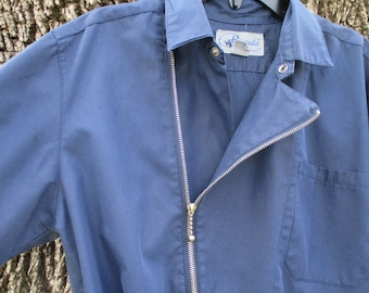 Vintage Mens Shirt 1980s Union Bay Side Zipper Over Shirt Small