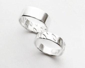 falling leaves - inside out - wedding band set - sterling silver ring set // minimalist wedding bands