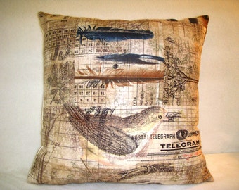 Pillow Cover Tim Holtz Wallflower Bird Aviary Patchwork Tree Nature Leaves Feathers Letter Numbers Script Black Blue Brown Pink Cream