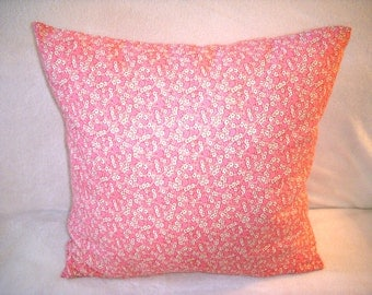 Pink Pillow Cover Flowers 1930s Repro Feedsack Farmhouse Country Cotton Floral Fabric Shabby Chic Zipper