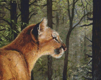Cross Stitch Pattern Lynx in the Forest Design Instant Download PdF Modern Design
