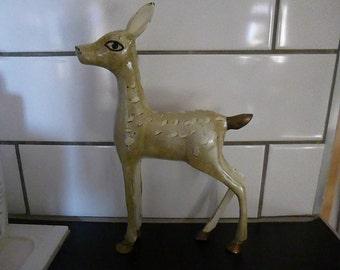 Large Vintage Solid brass Enamel Deer Statue Handpainted